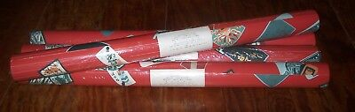 """Lot of 4 Double Roll Vintage SCHUMACHER Asian Wallcovering """"Karuta"""" Red RARE NOS"""