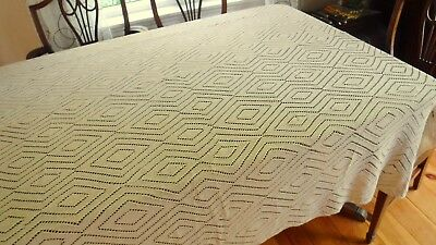 """Taupe Fawn Lace Bedspread Handmade Diamond Pattern Knitted 76x80"""""""