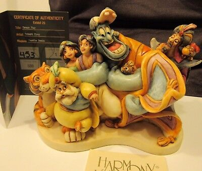 Harmony Kingdom Disney World Signed Aladdin Jasmine Genie Jafar Group Hug Marble