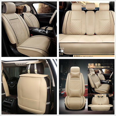 Car Full Set Seat Cover PU Leather Front & Rear 5-Seats W/ Neck Lumbar Pillows
