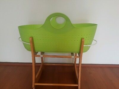Moba Moses Basket Bassinet Set with Tan Stand in Apple Colour (Green)