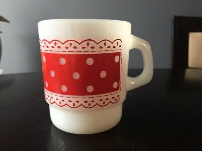 Vintage Red & White Polka Dot Fire King Milk Glass Coffee Mug/Cup
