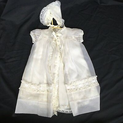 Vintage Baby Christening Gown Dress And Hat White Lace Sheer 3 Piece Set Girl