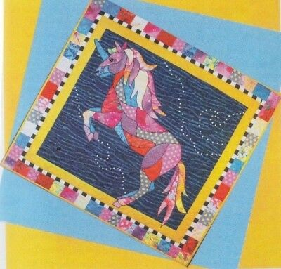 Fantasia - fun applique & pieced unicorn wall quilt PATTERN - BJ Designs