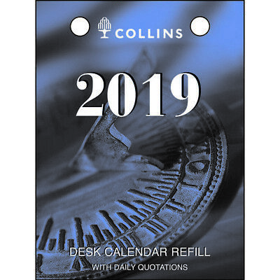 Collins Debden 2019 Desk Calendar Refill Top Punch Opening 1 Day to Page