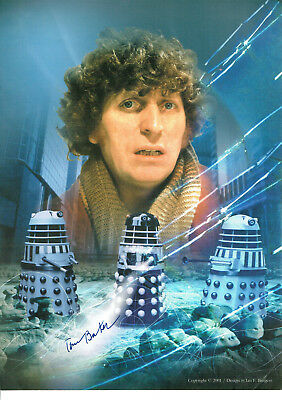 Tom Baker Signed Photo With Daleks Forth Doctor Who  BBC Star Jelly Babies Scarf