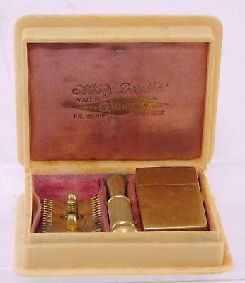 "Antique ""MILADY DECOLLETE"" Gillette Travel Safety Razor in Celluloid Box & Pink"