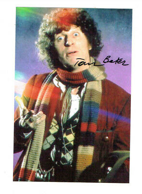 Tom Baker Signed Photo Forth Doctor Who BBC Star Jelly Babies Scarf K9 Daleks