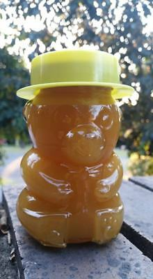 Raw Organic Autumn honey 2018 in glass teddy bear jar. 380 grams.