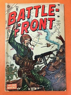 Rare 1954 Atlas BATTLE FRONT #25 * Classic HILL CHARGE + MIGS Cover *VIOLENT WAR