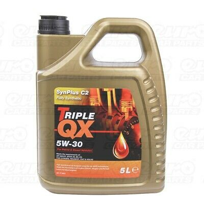 Triple QX SynPlus 5W30 Fully Synthetic Car Engine Oil 5L Low SAPS C2 5 Litres