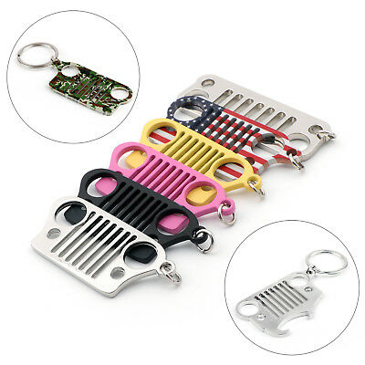 Stainless Steel Front Grille Keychain Keyring with Ring Jeep Wrangler JK