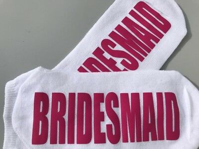 Bride bridesmaid maid of honour wedding hen party pink socks white ankle sock