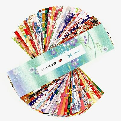 Set of 30 paper bookmarks of Japanese fabrics and paintings #B0028