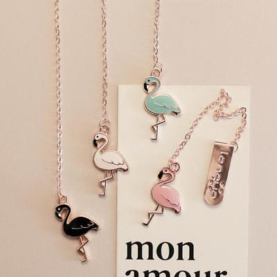 Metal Flamingo Bookmarks Pendant Planner Paper Clip for Book Reading Stationery