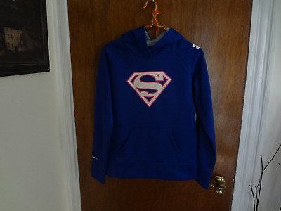 Girl's  Cold Gear Under Armour Blue Superman Hoodie