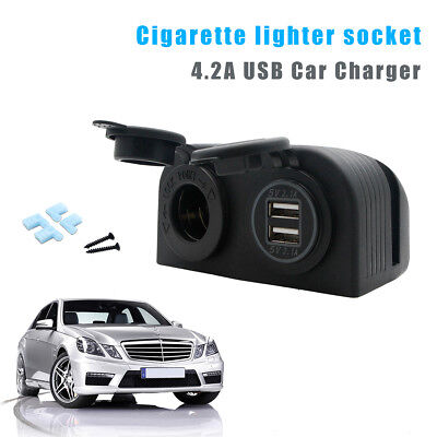 DC12V Car Boat Cigarette Lighter Socket 4.2A Dual USB Port Charger Power Outlet