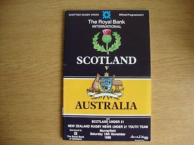 1988 Scotland v Australia - Rugby Union Programme - Excellent Condition