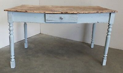 Rustic Victorian Painted Pine Plank Top Country Farmhouse Kitchen Table (179)