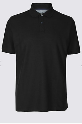 Ex M&S Mens Pique Pure Cotton Polo Shirt Slim/Tailored Fit Short Sleeved