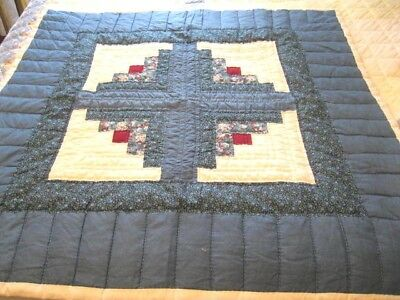 Blue  Quilt Topper 36 by 36 Inches Excellent Condition