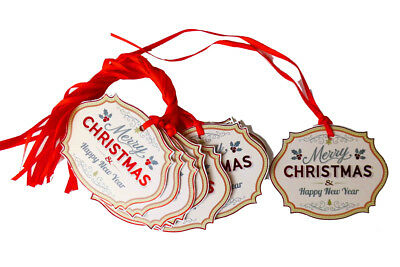 50 x MERRY CHRISTMAS Gift Tags & Ribbon - Red Xmas Festive Gift Cards