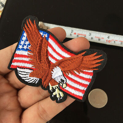 2Pc American Flag Bald Eagle Applique Wing USA Embroidered Iron on Patch Sewing