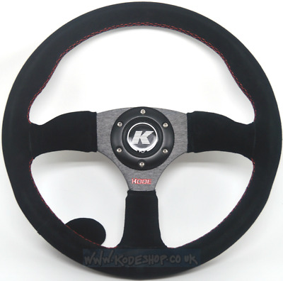 KODE-350mm Half Dish Suede Steering Wheel RED Stitch Fits 6x70mm PCD Boss Kit