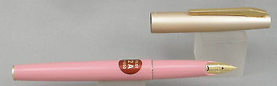 Pilot 2A Pink w/ Satin Gold Cap Fountain Pen - Mint New-Old-Stock - 1970's