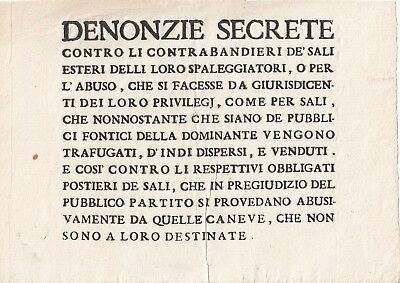 16th Century Notice Italy Secret Accusations -- Foreign Salt Contraband etc.