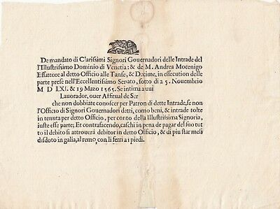 1565 Document Italy Governor's Indenture Penalty 18 Months Forced Work on Galley