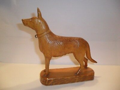 Vintage Black Forest Type Hand Carved Detailed Wooden Dog. Initials F.N.