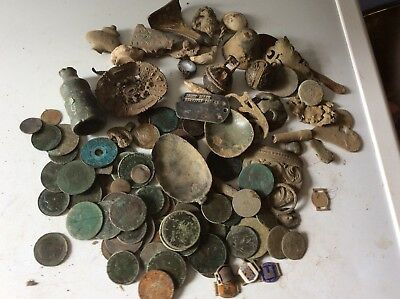 A Large Lot Of Metal Detecting Finds Many Coins Little Silver