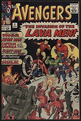 Avengers 5. Vs Lava Men. Glossy Cents Copy. White Pages. Jack Kirby Art