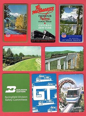 9 Single Swap Playing Cards TRAIN ADS RAILROAD SOUVENIRS SOME VINTAGE