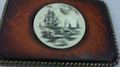 SIgned VINTAGE HANDMADE SCRIMSHAW LEATHER AND BRASS  BELT BUCKLE