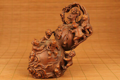 Rare chinese old Boxwood Hand Carved calabash Baby Big Statue Figure