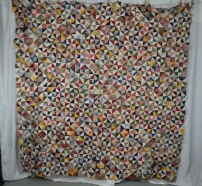 patchwork quilt top antique cotton early multi colored 76x78 early  repurpose