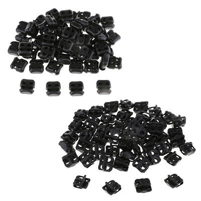 50pcs Black Plastic Dual Hole Spring Cord Lock End Toggles Double Stop Adjuster