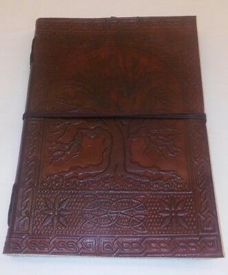 """Handmade Large 10"""" Embossed Leather Journal Tree Of Life blank personal Diary"""