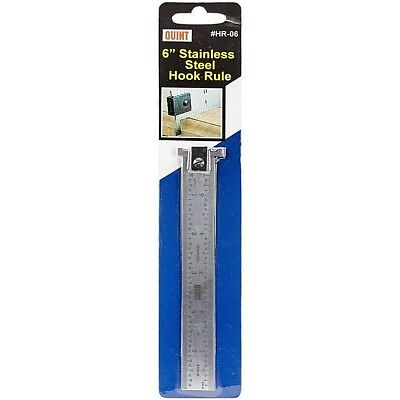 "Quint Measuring Systems Stainless Steel Hook Rule, Ruler 6"" inch #HR-06"