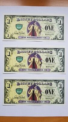 2013 Disney Dollars Creulla 101 Dalmatians Error 3 Sequenced Serial Numbers D