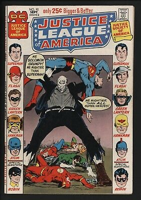 Justice League Of America #92 Vs Solomon Grundy Great Value Cents + White Pages