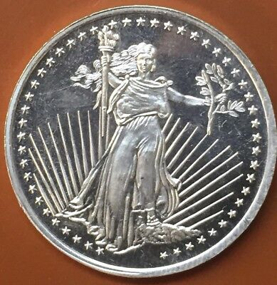 """Silvertowne """"St Gaudens Liberty"""" Round 1 One Troy Oz Ounce .999 Silver Coin"""