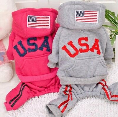 Winter Small Dog Jumpsuit Clothes USA Costume Warm Pet Apparel Puppy Coat Hoodie