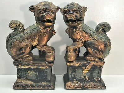 Pair Of Cast Iron Foo Lion Dogs Or Temple Lions Book Ends - Vintage