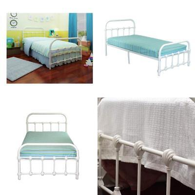 ANTIQUE TWIN BED White Metal Frame Bedroom Furniture Victorian Steel ...