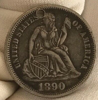 1890 Love Token Engraved M.A.H seated Liberty silver Dime Necklace Ready