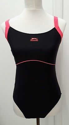 Bnwt Slazenger Plus Size 16 Black Pink Swimming Costume Swim Suit