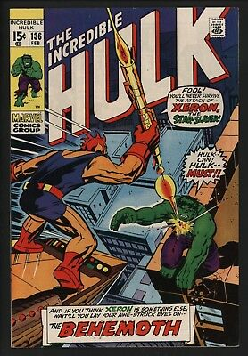 Incredible Hulk 136 Vs The Behemoth. Classic Herb Trimpe Art White Pages